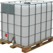 Емкость, еврокуб, пэ куб. 1000л с краном белая на деревянном поддоне UN с широким краном 80 мм (1)